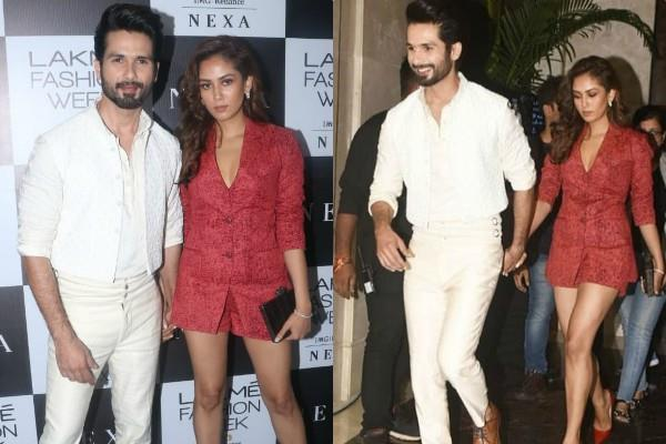 shahid kapoor mira rajput attend lakme fashion week