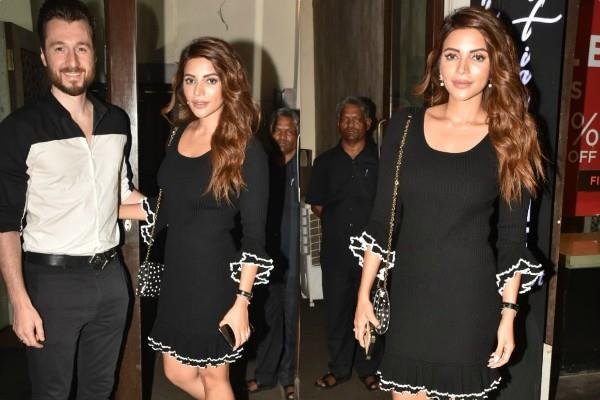 shama sikander spotted at bandra with fiance james milliron