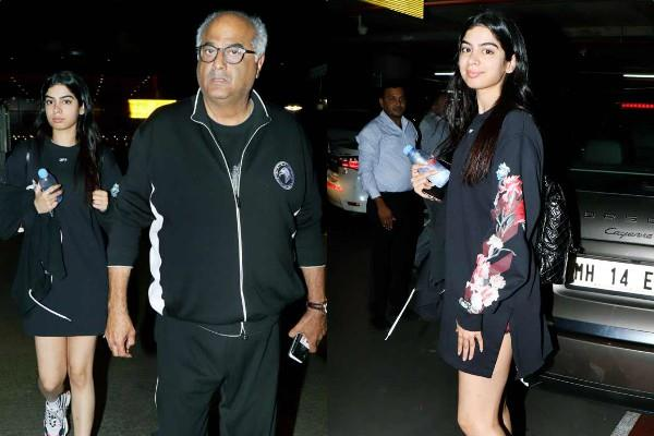 boney kapoor return to mumbai with khushi kapoor after attending bali weeding