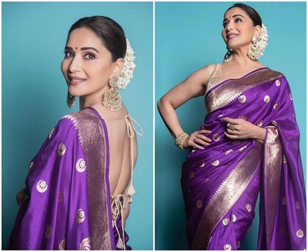 madhuri dixit look beautiful in traditional silk saris