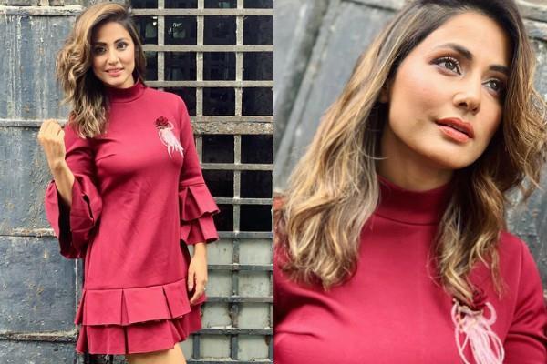 शॉर्ट ड्रेस में हिना ने दिखाईं दिलकश अदाएं, रेड लुक देख फैंस हुए कायल