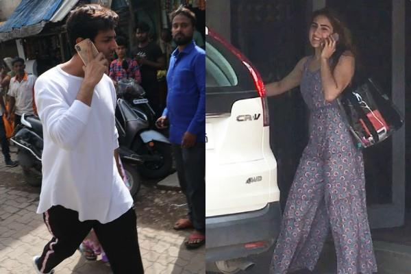kartik aaryan receive sara ali khan from gym