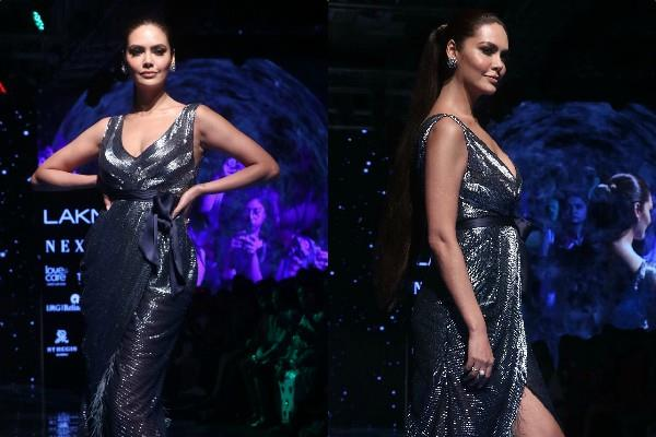 esha gupta ramp walk in sheer dress at lakme fashion week day 1