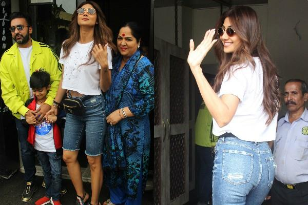 shilpa shetty enjoys lunch date with family