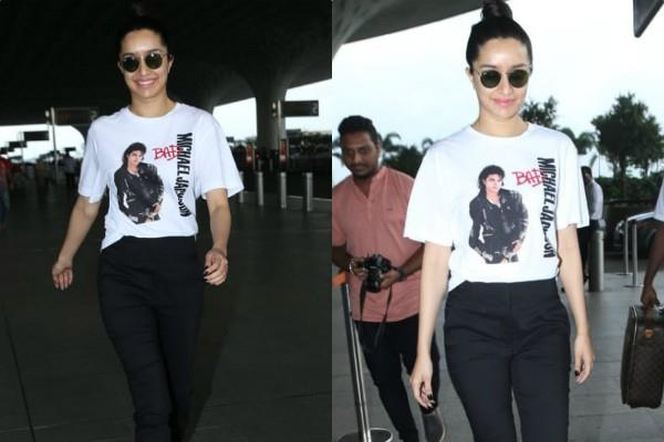 shraddha kapoor monochrome look as she spotted at airport
