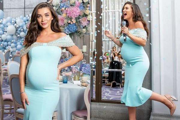 amy jackson wearing turquoise bodycon dress on her baby shower