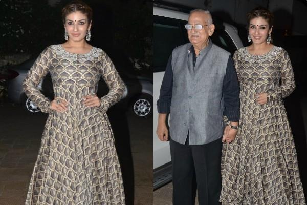raveena tandon spotted at rangsharda hotel with father ravi tandon in bandra