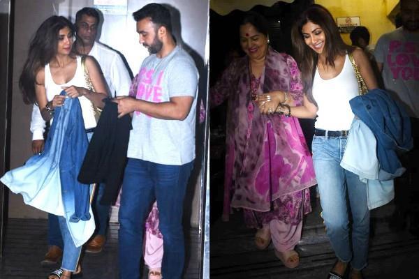 shilpa shetty latest pictures with hubby raj kundra mother sunanda shetty
