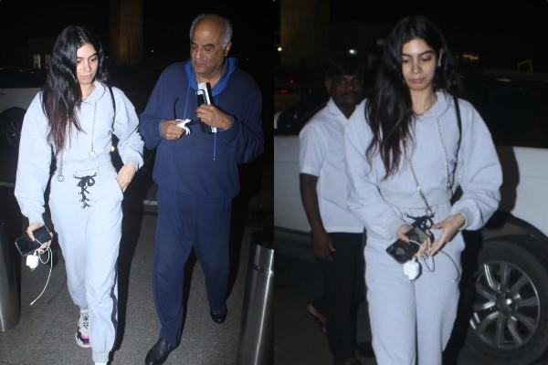khushi kapoor spotted at airport with father boney kapoor