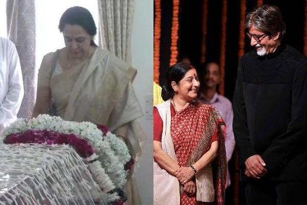 hema malini sunny deol amitabh bachchan pays tribute to sushma swaraj
