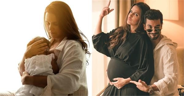neha dhupia came to see her daughter doing breastfeeding