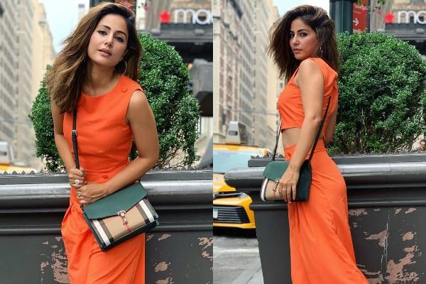 hina khan latest photoshoot pictures in orange outfit
