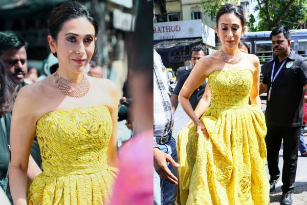 karishma kapoor in strapless gown at event