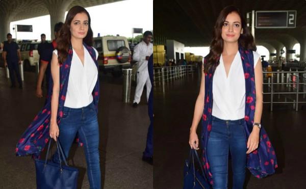 dia mirza casual look at mumbai airport