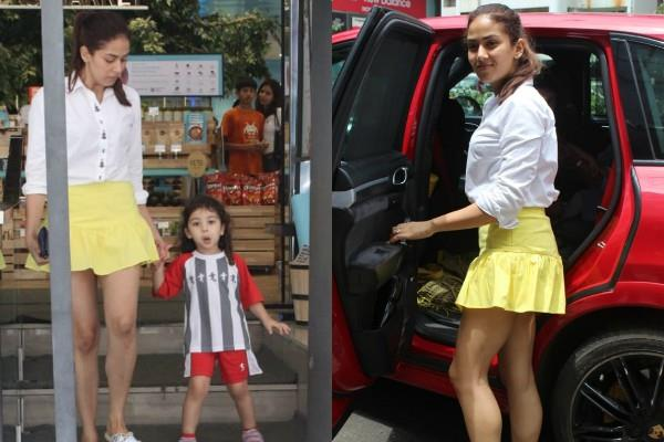mira rajput spotted outside the food hall with daughter misha kapoor