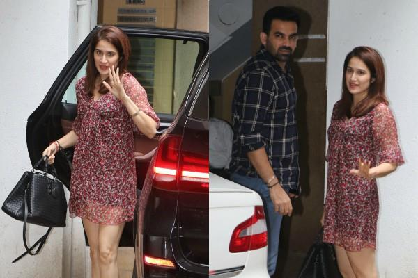 sagarika ghatge spotted with husband zaheer khan at bandra