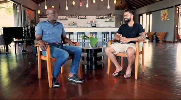 video captain kohli becomes anchor in front of vivian richards