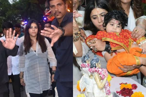 ekta kapoor spotted at iskcon temple with son ravie kapoor