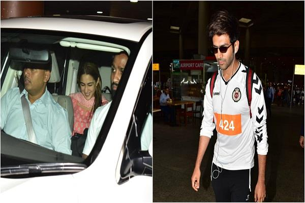 sara ali khan arrives at terminal to pick up kartik aaryan