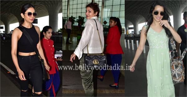 shraddha kapoor raveena tandon rakul preet singh arrives at mumbai airport