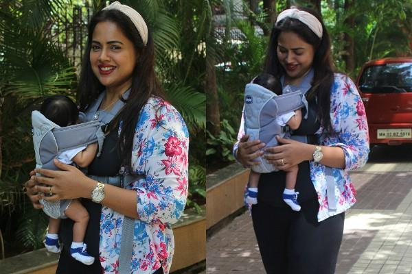 sameera reddy spotted her delivery with 40days old daughter naira