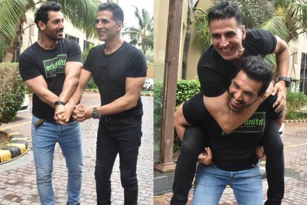akshay kumar spotted with john abraham during movie promotion