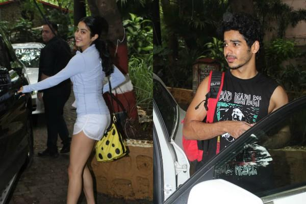 janhvi kapoor ishaan khattar outside the gym