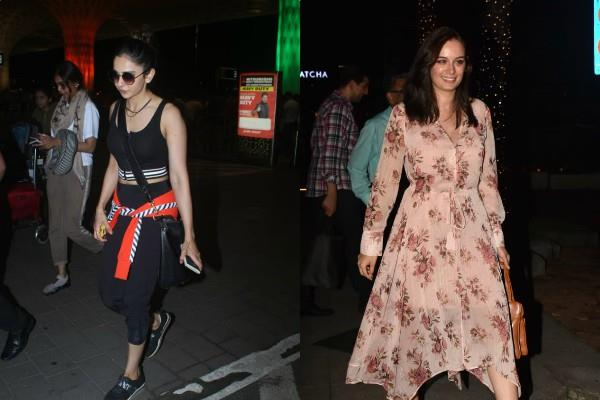 rakul preet singh evelyn sharma at airport
