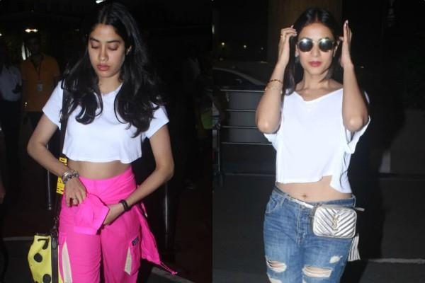 sonal chuhan janhvi kapoor spotted at airport