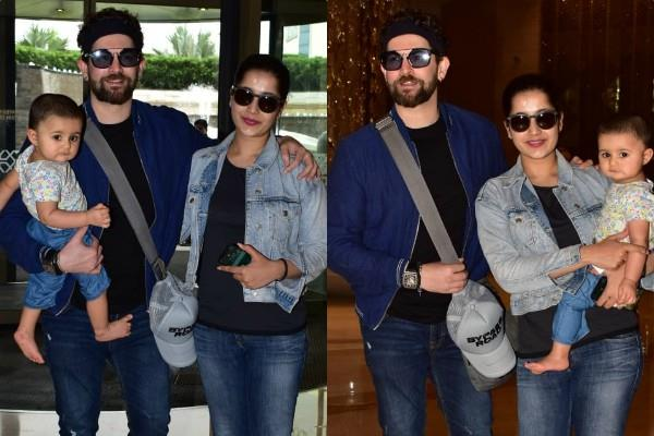 neil nitin mukesh spotted at jw marriott with wife and daughter