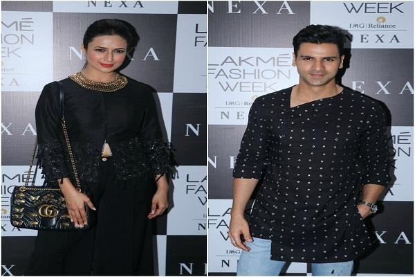 divyanka tripathi and vivek dahiya twin in black in lakme fashion week 2019