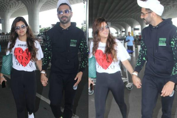 aparshakti khurana spotted at airport with wife akriti khurana