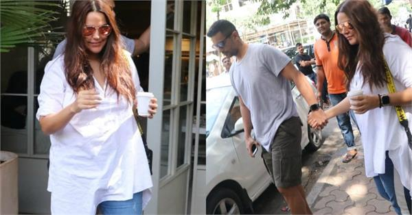 neha dhupia spotted outside the cafe with husband angad bedi in bandra