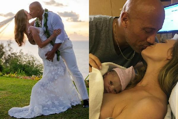 dwayne johnson has just married his girlfriend lauren hashian