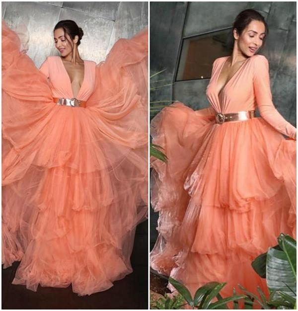 malaika arora looks stunning in peach gown at the indian film festival