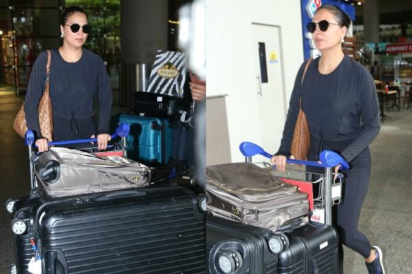 lara dutta spotted at airport