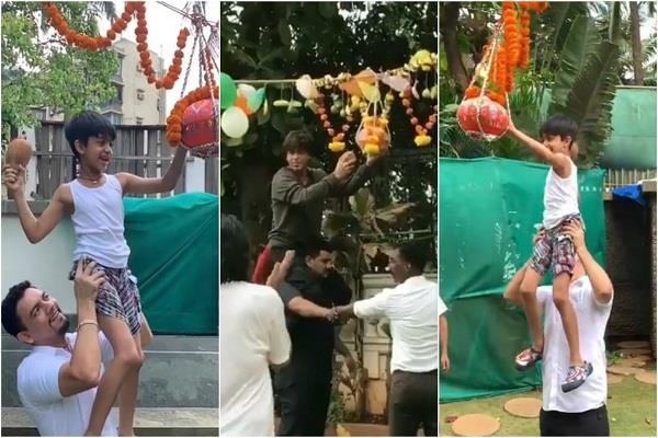 shah rukh khan breaks dahi handi see pics celebs celebrate janmshtami