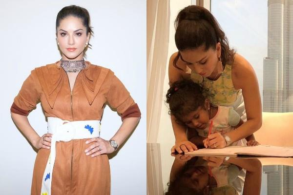 sunny leone helped her daughter nisha to finish homework