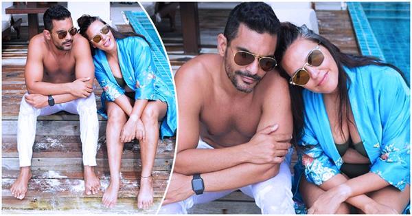 neha dhupia enjoying vacation with hubby angad bedi