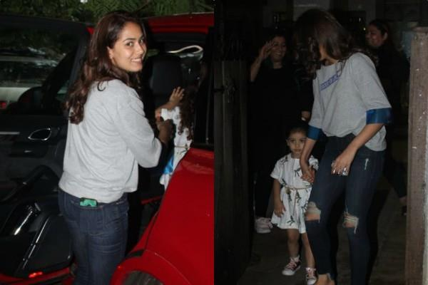 mira rajput spotted outside saloon with misha rajput