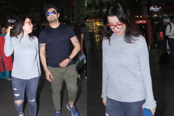 sonu nigam spotted at airport with wife madhurima nigam