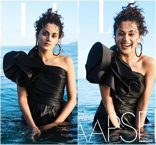 taapsee poses in the sea in satin dress fans worried about the outfit