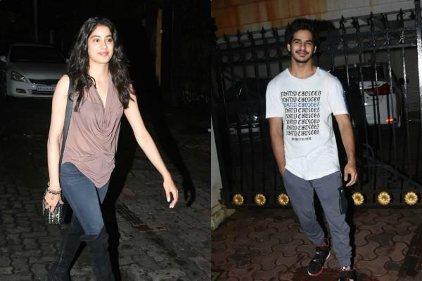 janhvi kapoor arrives at brother arjun kapoor house with ishaan khatter