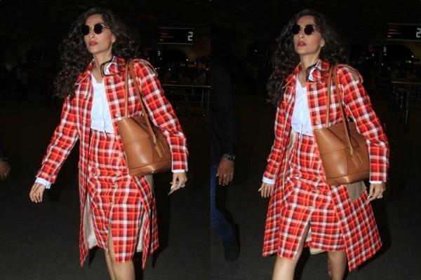 sonam kapoor ahuja spotted at mumbai airport