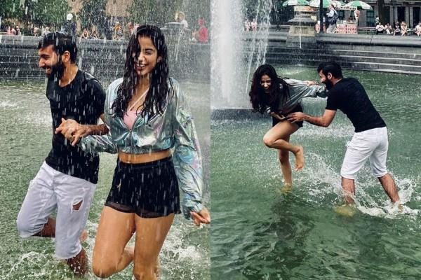 janhvi kapoor enjoy under fountain with bff orhan awatramani in new york