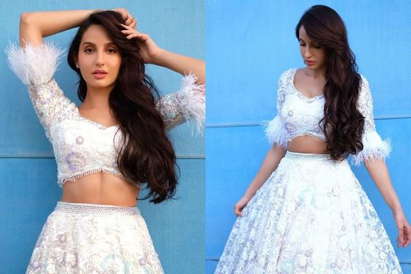 nora fatehi looks stunning in indo western dress