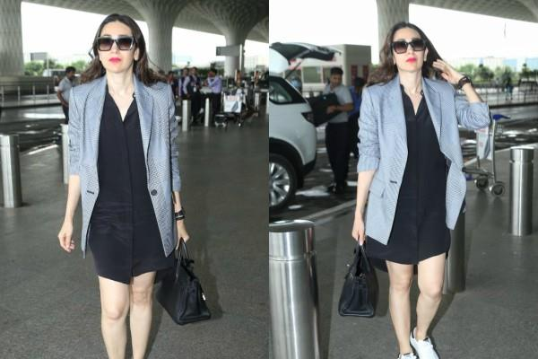 karisma kapoor looks stunning as she spotted mumbai airport
