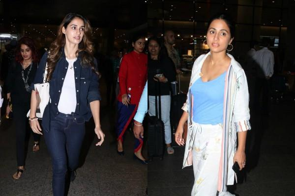 disha patani hina khan at mumbai airport see pictures