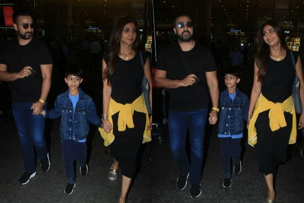 shilpa shetty spotted at airport with hubby raj kundra and son viaan raj kundra