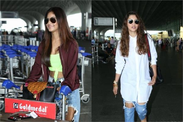 meera chopra gauhar khan spotted at mumbai airport